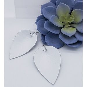 Jewelry - White Leather Earrings